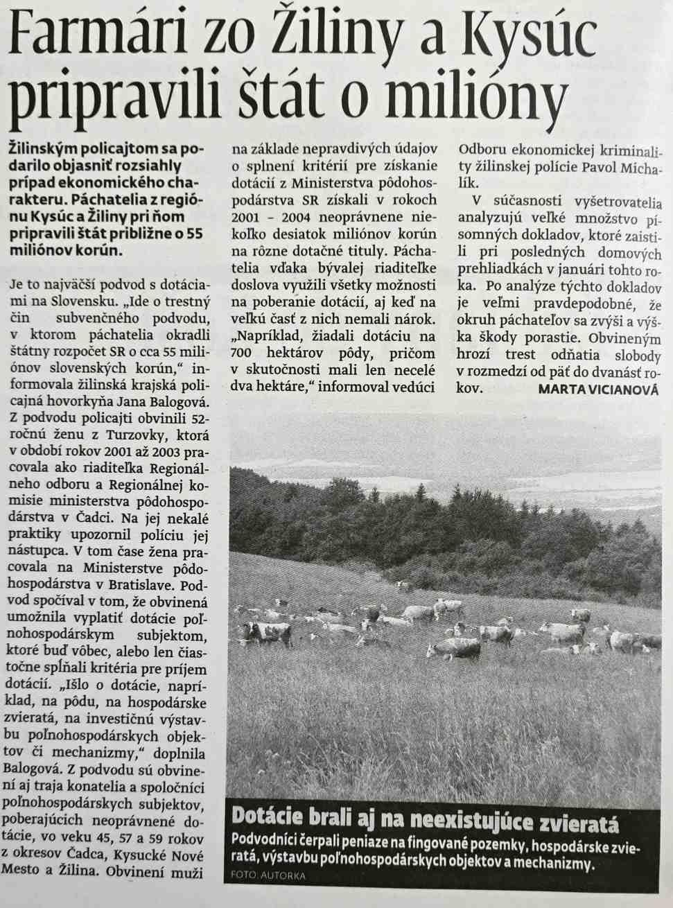 Spravodajstvo Farmarske podvody