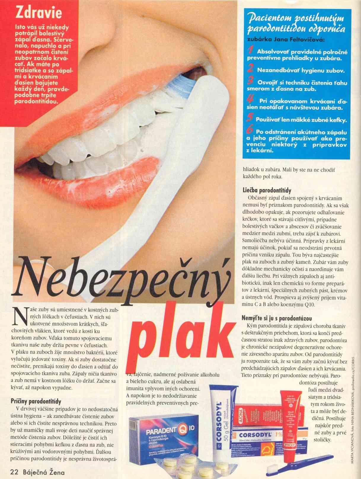 Zdravie: nebezpečný zubný plak.